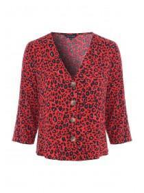 Womens Red Animal Print Button Up Top
