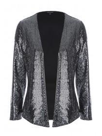 Womens Silver Sequin Jacket