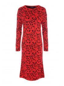 Womens Red Leopard Print Jumper Dress