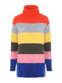 54d6583b261 Womens Multicolour Stripe Roll Neck Jumper ...