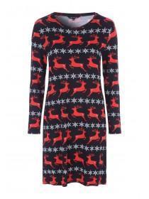 Womens Black Reindeer Christmas Dress