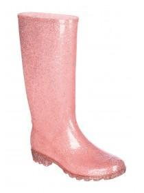 Womens Pink Glitter Welly Boots