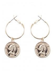 Womens Gold Coin Earrings