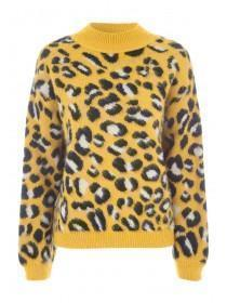 Womens ENVY Mustard Animal Print Fluffy Jumper