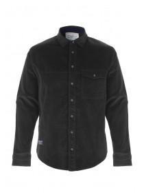 Mens Dark Grey Cord Long Sleeve Shirt