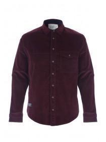 Mens Dark Red Cord Long Sleeve Shirt