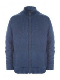 Mens Blue Zip Up Knitted Jacket
