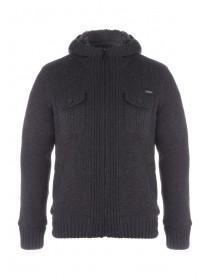 Mens Charcoal Knitted Hoody