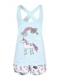 ae7df96e54 Womens Aqua Unicorn Top and Short Pyjama Set ...