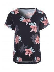 745a845b Womens Black Floral Short Sleeve Pyjama Top ...