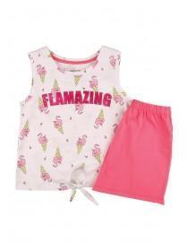 565274d1f Older Girls Pink Flamingo Top and Shorts Pyjama Set ...