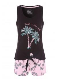 d9d6e455754fb7 Womens Pink Palm Vest Top and Shorts Pyjama Set ...
