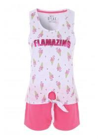5aeb12f31 Womens Pink Flamingo Vest Top and Shorts Pyjama Set ...