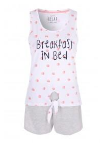 ab49283c0c565 Womens White Fruit Vest Top and Shorts Pyjama Set ...