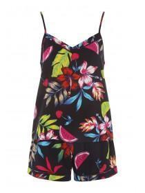 d83602d811cc6 Womens Black Tropical Top and Short Pyjama Set ...