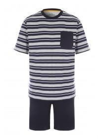 f932b14ea7 Mens Grey Stripe Top and Short Pyjama Set ...