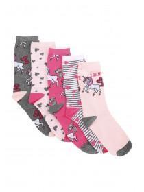 1533e2ec207 Womens 5pk Pink Unicorn Socks ...