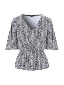 Womens Monochrome Snake Print Wrap Top