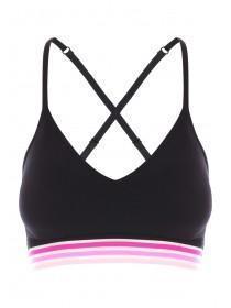 cb94dd1165a2 Womens Black Pink Band Seam Free Crop Top ...