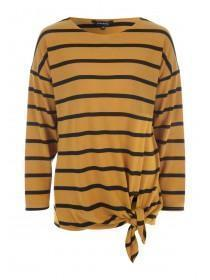 Womens Mustard Stripe Tie Front Top