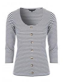 Womens Grey and White Stripe Rib Top