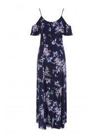 a3c749a49d6 Womens Navy Floral Cold Shoulder Maxi Dress ...