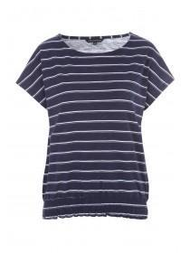 105145ab Womens Navy Stripe Bubble Hem T-Shirt ...