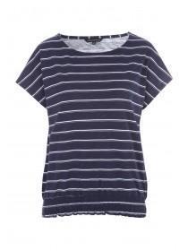 31244a289 Womens Navy Stripe Bubble Hem T-Shirt ...