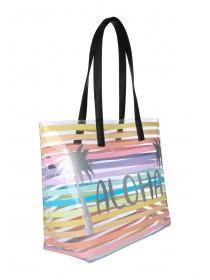 Womens Multicolour Stripe Slogan Beach Bag ... c6ece8007ac0d