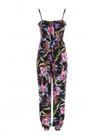 55b77f031 Womens Black Tropical Pyjama Jumpsuit ...