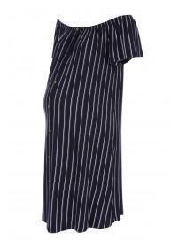 12f15a33c40 Maternity Navy Stripe Bardot Dress ...