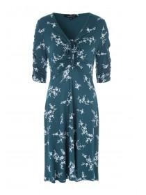 47fb7d763c Womens Teal Floral Ruched Front Dress ...