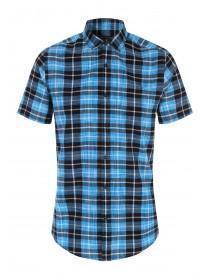 3de5605f5b2 Mens Blue Short Sleeve Check Shirt ...