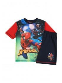 6e7b400a801c46 Boys Navy Spiderman Top and Shorts Pyjama Set ...