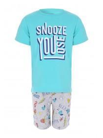 0ea3b5f38 Older Boys Blue Slogan Pyjama Set ...