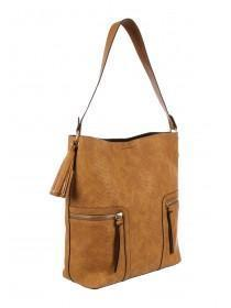 bb54ca7cfcb Womens Tan Croc Shoulder Bag ...