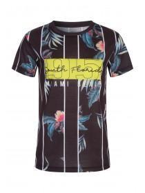 9745a80597340 Older Boys Black Floral Slogan T-Shirt ...