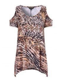 718845a3441a Womens Orange Animal Print Cold Shoulder Top ...