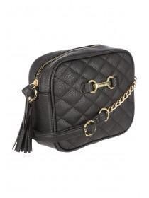 0ebfa104e95 Womens Black Quilted Across Body Bag ...