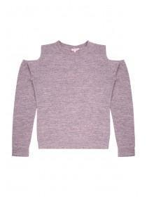 Older Girls Pink Cold Shoulder Sweater