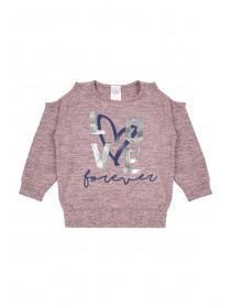 Younger Girls Pink Cold Shoulder Sweater