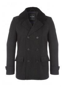 Mens Wool Borg Lined Collar Double Breasted Coat