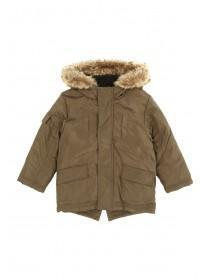 Younger Boys Khaki Fur Trim Parka