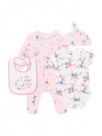 Baby Girls 4 Piece Pink Bunny Set