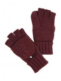 Womens Plum Flip-top Gloves