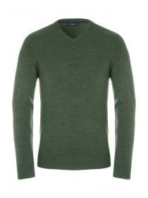 Mens Green V-Neck Jumper