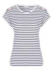 Womens White Embroidered Striped T-Shirt