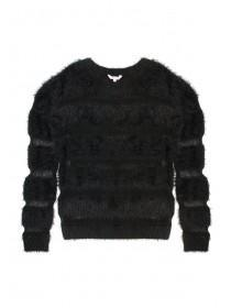 Older Girls Black Fluffy Jumper