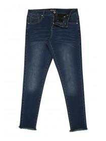 Older Girls Mid Blue Raw Hem Skinny Jean