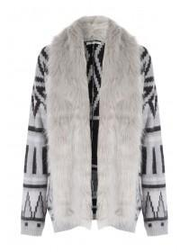 Womens Aztec Fur Cardi